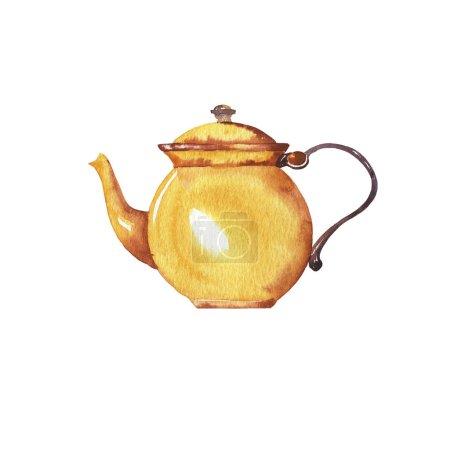 Photo pour Vue rapprochée de l'illustration de théière mignonne sur fond blanc - image libre de droit