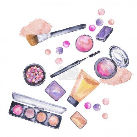 Photo pour Vue rapprochée de divers cosmétiques de maquillage disposés sur fond blanc - image libre de droit