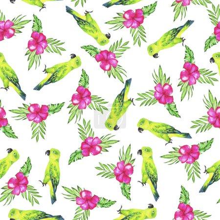 Photo pour Motif sans couture avec des perroquets verts, des feuilles tropiques vertes et des fleurs roses sur fond blanc. Illustration aquarelle dessinée à la main . - image libre de droit