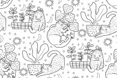 Hand drawn vector seamless pattern cats outline drawing illustration monochrom Coloring book
