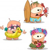 Hanks Beach Party Set (Vector Drawing of Funny Cartoon Creature Hank in Different Looks)
