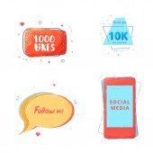 Social media set of  banners with lettering isolated on white background 10K followers Follow me 1000 likes text Elements for public channels design Vector illustration