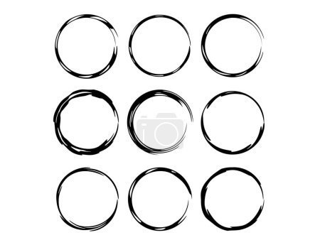 Set of round grunge frames isolated. Collection of empty  borders isolated. Vector illustration.