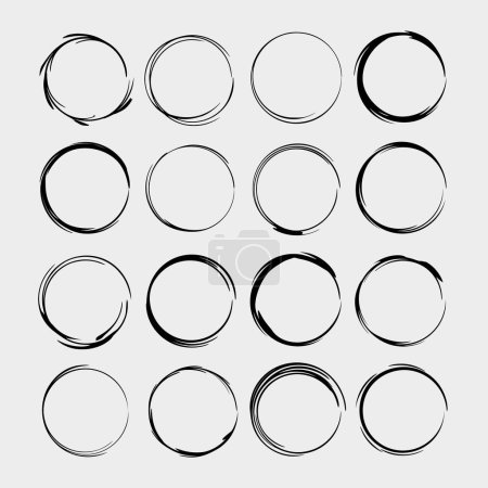 Set of round grunge frames. Empty circle borders isolated. Vector illustration.