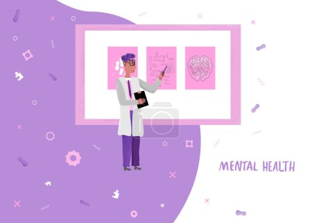 Vector banner concept of medical mental diagnostic.