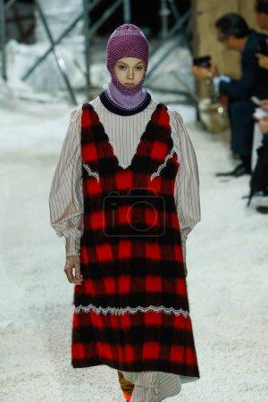 NEW YORK, NY - FEBRUARY 13: A model walks the runw...