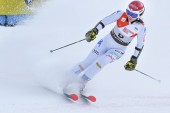 KILLINGTON, VT - NOVEMBER 24: Irene Cutrone of Italy in the finish area after the first  run of the giant slalom at the Audi FIS Ski World Cup - Killington Cup on November 24, 2018 in Killington, Vermont.