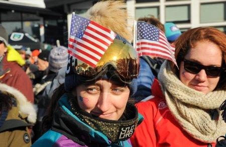 Photo pour Killington, Usa - 24 novembre: Une vue d'ensemble au Village du Festival et au peuple pendant le Slalom géant de Audi Fis Alpine Ski World Cup féminin sur 24 novembre 2018 à Killington Usa. - image libre de droit
