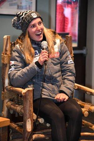 Photo pour KILLINGTON, VT - NOVEMBER 25: A press conference after the Killington Cup at Killington Ski Resort on November 25, 2018 in Killington, Vermont. - image libre de droit