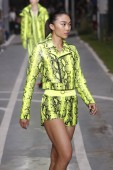 PARIS, FRANCE - SEPTEMBER 27: Cecilia Yeung walks the runway during the Off-White show as part of Paris Fashion Week Womenswear Spring/Summer 2019 on September 27, 2018 in Paris, France.