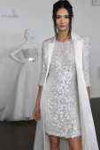 NEW YORK, NY - APRIL 13: Model presenting designer's collection during the Nicole by Pronovias Spring 2020 bridal presentation at New York Fashion Week: Bridal on April 13, 2019 in NYC.
