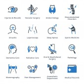 This set contains medical services and specialties icons that can be used for designing and developing websites as well as printed materials and presentations