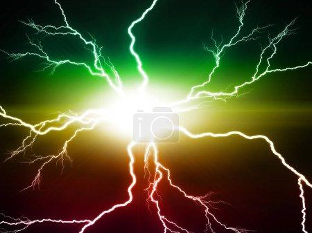 electric flash of lightning on dark background