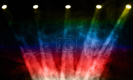 Photo for Illustration of stage spot lights and smoke - Royalty Free Image