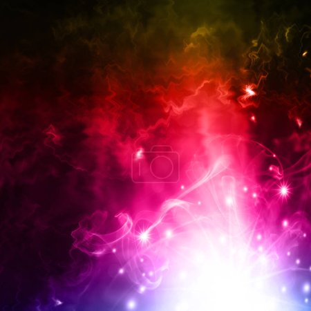 Photo for Glowing background with bright rays of light and mysterious white sparks - Royalty Free Image