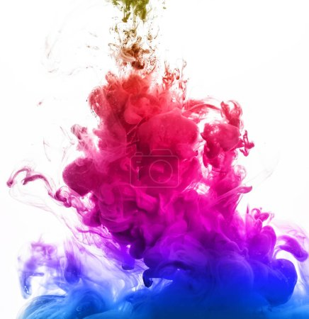 abstract colorful ink in water isolated on white background