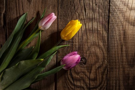 Foto de Bouquet de tulipanes color rosas y amarillo sobre fondo de madera - Imagen libre de derechos