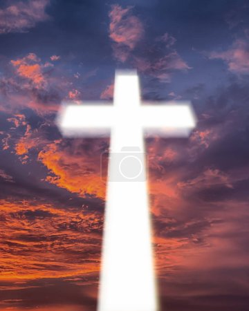 Photo for Glowing cross on beautiful sky background - Royalty Free Image