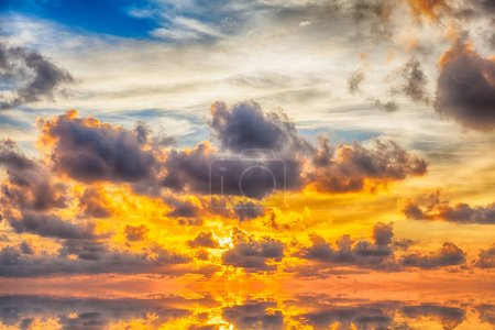 Photo for Amazing sunrise with cloudy sky and sun rays - Royalty Free Image