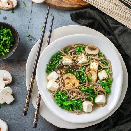 Buckwheat soba noodles tofu soup ingredients for a...
