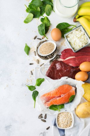 Photo for Balanced diet nutrition, healthy eating concept. Food sources rich in vitamin B6, pyridoxine on a kitchen table. Top view flat lay background - Royalty Free Image