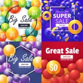 Big Sale Colorful Bubbles Collection with Geometric Frame Different Ad Website Shopping Banner Vector Elements Sale