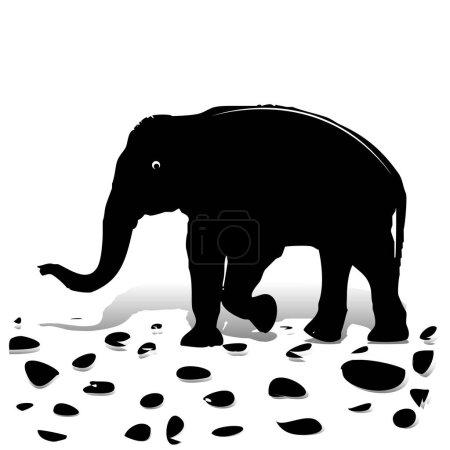 Ilustración de Silueta de elefante negro caminando sobre piedras, para el diseño en blanco de fondo, vector - Imagen libre de derechos