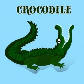 Dark green crocodile with open mouth looking up cartoon on light blue background vector