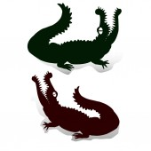 Silhouette of two crocodiles (dark green and brown) with open jaws looking up decorations for design on white background vector