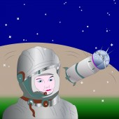 Banner the first cosmonaut and the Vostok-1 rocket against a c