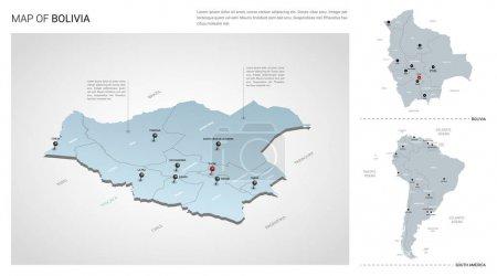 Illustration pour Ensemble vectoriel du pays Bolivie. Carte 3d isométrique, carte de Bolivie, carte de l'Amérique du Sud - avec les noms des régions, des États et des villes . - image libre de droit