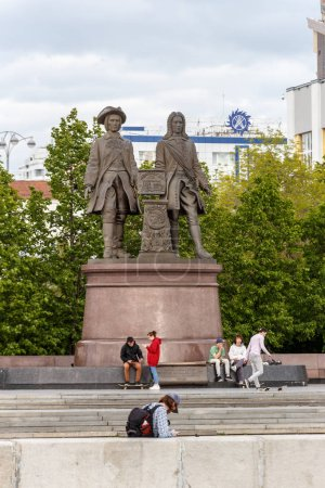 Russia, Yekaterinburg - June 15, 2018: Monument to the founders of Yekaterinburg Tatishchev and Degenin