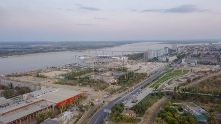 Russia, Volgograd - August 28, 2017: Construction of a stadium in the city of Volgograd for the 2018 World Cup in Russia Filmed at sunset