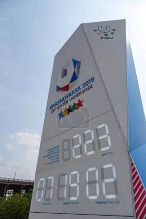 Russia, Krasnoyarsk - July 23, 2018: Electronic watch of the countdown to the start of the Universiade 2019 in Krasnoyarsk on the embankment of the Yenisei River