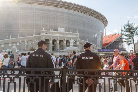 Russia, Yekaterinburg - June 24, 2018: Police are watching the order before the match Sinigal vs Japan near stadium Ekaterinburg Arena. FIFA World Cup 2018