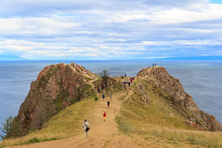 Russia Baikal Olkhon Tourists at