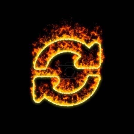 Photo pour Le symbole synchroniser brûle dans le feu rouge - image libre de droit