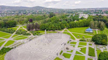 Photo pour Oslo, Norvège. Vigeland Sculpture Park. Vigelandsparken. Frogner park, Du Drone - image libre de droit