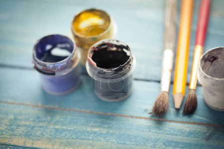 Photo for Old paint brushes. Drawing tools. Paint and pencil. - Royalty Free Image