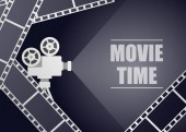 Retro movie projector on a blue background with movie strip vector background