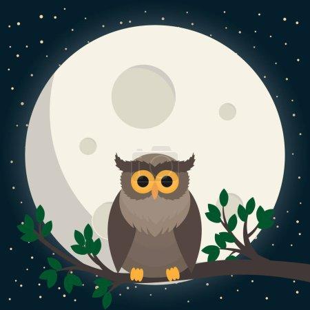Illustration pour Chouette mignon assis à la branche sous la lune. Illustration vectorielle - image libre de droit