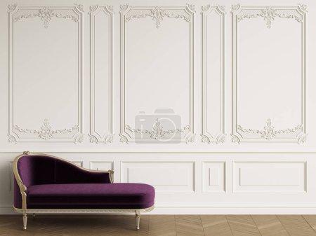 Photo pour Classique chaise longue dans un intérieur classique avec l'espace de la copie. Murs blancs avec moulures. Chevrons de plancher de parquet. Digital Illustration.3d rendu - image libre de droit