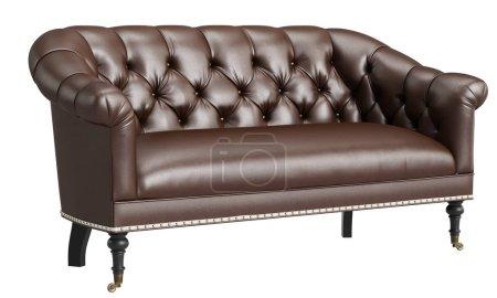 Photo pour Canapé classique isolé sur fond blanc.Illustration numérique.3d rendu - image libre de droit