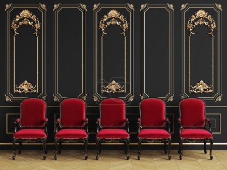 Photo for Classic armchairs  in classic interior with copy space.Black walls with gilded mouldings. Floor parquet herringbone.Digital Illustration.3d rendering - Royalty Free Image