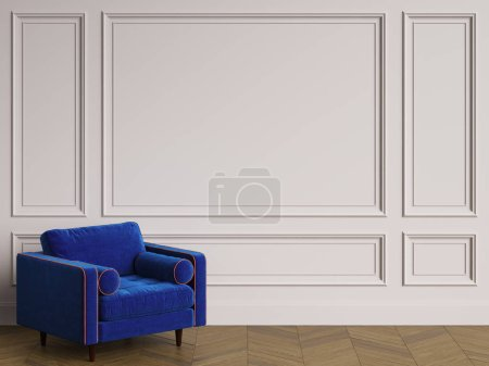Photo pour Fauteuil en intérieur classique avec espace de copie. Murs avec moulures. Parquet de l'étage. Digital Illustration.3d rendu - image libre de droit