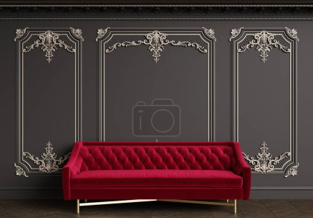 Photo for Classic red velvet sofa in classic interior with copy space.Black walls with silvered mouldings,ornated cornice. Floor parquet herringbone.Digital Illustration.3d rendering - Royalty Free Image