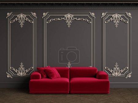 Foto de Classic red velvet sofa in classic interior with copy space.Black walls with silvered mouldings,ornated cornice. Floor parquet herringbone.Digital Illustration.3d rendering - Imagen libre de derechos