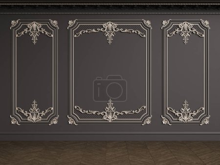 Photo for Classic interior with copy space.Black walls with silvered mouldings,ornated cornice. Floor parquet herringbone.Digital Illustration.3d rendering - Royalty Free Image