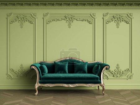 Photo for Classic sofa in emerald velvet in classic interior with copy space.Olive color walls with silvered mouldings,ornated cornice. Floor parquet herringbone.Digital Illustration.3d rendering - Royalty Free Image