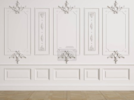 Photo for Classic interior wall with mouldings.Floor parquet herringbone.Digital illustration.3d rendering - Royalty Free Image